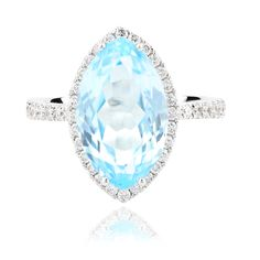 Marquise-Faceted Blue Topaz & Diamond Ring crafted in 18k White Gold - Angela Daniel Jewellery $3,400
