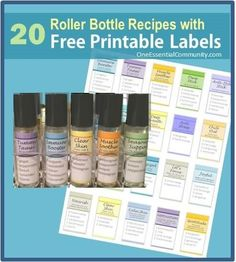 I'm so excited about this!!  20 roller bottle recipes with FREE printable labels!  Includes Immune Booster, Tummy Tamer, Muscle Soother, Owie Stick, Anti-Itch Stick, Seasonal Support, Tension Tamer, Deep Breath, Anti-Stress, Chill Out, Grounding Blend, Good Night Sleep Tight, Energized, Lets Focus, Joyful, Nourish, Clear Skin, Calm Skin, Motivation, and Gratitude