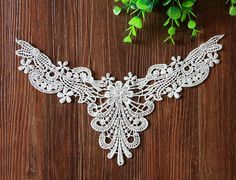 Venice Cotton lace Collar AppliquesFloral Embroidered by JimiLace
