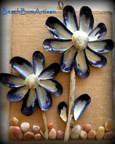 Mussel shell and driftwood Wall Plaque with pebbles