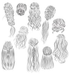 Menschen zeichnen Hairstyles vector illustrations 2 How Exactly Do Sep Cool Art Drawings, Pencil Art Drawings, Art Drawings Sketches, Easy Drawings, How To Draw Braids, How To Draw Hair, Drawing Hair Tutorial, Hair Vector, Drawing Hair