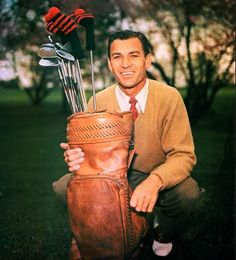 Golfing legend Ben Hogan, who between 1946 and 1953 won nine Grand Slam events and four PGA Player of the Year awards; won sixty-two times in PGA career; made a stirring comeback from a near-fatal car crash; the film Follow the Sun chronicles his life.