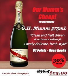 Ignore the image, this is valid all throughout December as well. #Mumm Half Bottles now only $25.  #halfbottles #champagne #winelovers
