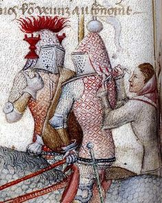 Fixing strap at rear of helm. Sca Armor, Medieval, Effigy, 14th Century, Illuminated Manuscript, Middle Ages, Miniatures, History, Pictures