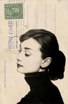Audrey Hepburn Sketch on Vintage Postcard