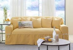 Sure Fit Slipcovers Cotton Canvas One Piece Slipcovers   Sofa