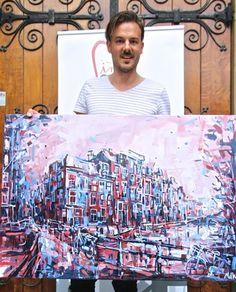 Eindresultaat na een dag schilderen tijdens het evenement #Pintarrapido #schilderijamsterdam #looiersgracht