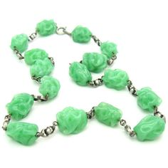 Glass Bead Necklace. Green Jade Choker. 800 Silver Links. Lampwork... ($95) ❤ liked on Polyvore featuring jewelry, necklaces, jade necklace, jade bead necklace, vintage art deco necklace, vintage necklaces and beaded choker necklace