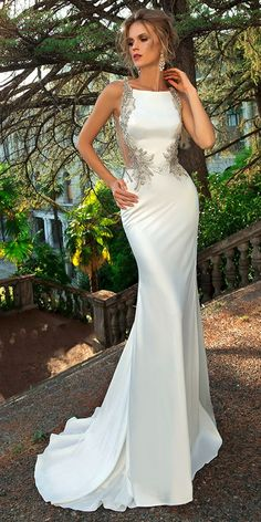 Alluring Tulle & Acetate Satin Bateau Neckline Mermaid Wedding Dress With Beaded Embroidery