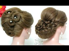 Wedding hairstyle for medium long hair. Bridal updo - YouTube