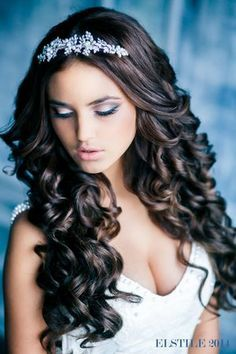 black hair wedding with tiara - Google Search