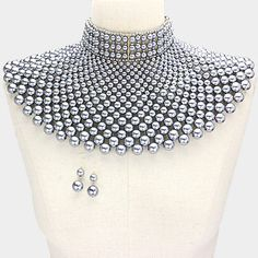 "13"" gray pearl armor choker necklace collar 2"" earrings egyptian bib chunky"