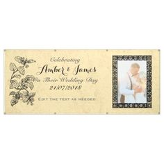 Wedding Banner with Photo Personalized Botanical - paper gifts presents gift idea customize