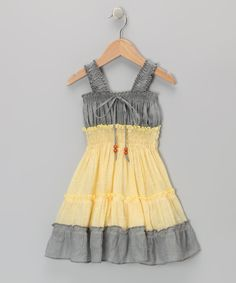 Gray & Yellow Country Dress - Toddler & Girls | Daily deals for moms, babies and kids