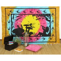 TWIN COLORFUL HIPPIE INDIAN MANDALA TAPESTRY WALL HANGING Picnic Bohemian Decor #EyesofIndia #BedspreadTapestry