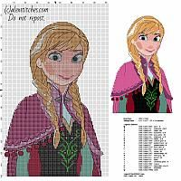 Anna cartoon character from Disney Frozen free cross stitch pattern size about 150 stitches
