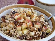 On the days when you'd like your meal to be a little denser than usual, consider making muesli. Serve it for breakfast, lunch or dinner, and make sure to chew the grains thoroughly for optimum digestion. This is a very flexible recipe, allowing you to substitute grains for nuts or other grains, as well as your choice of dried and fresh fruits.