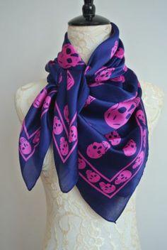 Fashion Alexander Hot Pink Skulls Navy Blue Charmeuse Silk Satin Scarf McQueen | eBay