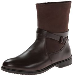 ECCO Women's Touch 15 Buckle Boot,Coffee,40 EU/9-9.5 M US. Leather boot in mixed matte and glossy finish featuring wraparound buckle strap and low-rise stacked heel. Side zip closure. Removable insole.