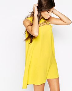 Image 1 ofLove Shift Dress With Lace Up Detail