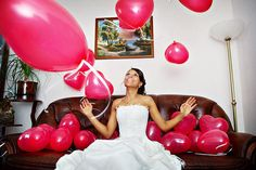 Want to play a bit of pranks after the wedding? We have some unforgetable surprises in store! Wedding Balloon Decorations, Wedding Balloons, Balloon Party, Strapless Dress Formal, Prom Dresses, Formal Dresses, Pranks, Groom, Bride
