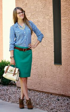thrifted blue gingham with jcrew green pencil skirt and steve madden booties. One of my fave looks! The House of Shoes