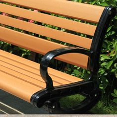 Wood-plastic benches in public areas of leisure