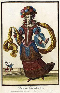 Recueil des modes de la cour de France, 'Dame en Habit de Ballet' (Lady in a Ballet Dress) Jacques Lepautre, Jean Lepautre circa 1682