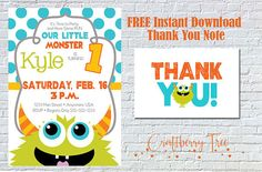 Our Little Monster 1st Birthday Invitation by Craftberrytree