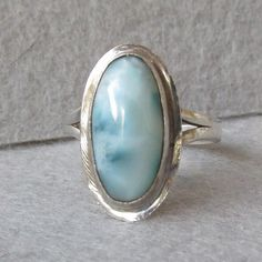 Pretty Sterling Silver Vintage LARIMAR Pectolite Ring, Size 6.5