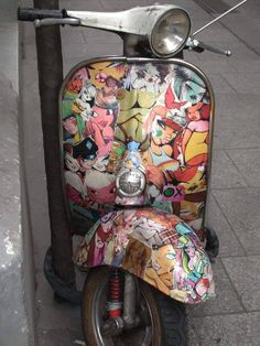 All things Lambretta & Vespa — Good use of some cartoon cut outs on this Vespa.