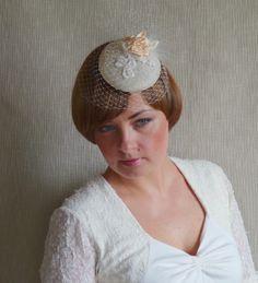 Ivory Pillbox Hat Fascinator  Birdcage Veil  by RubinaFascinators, $69.00
