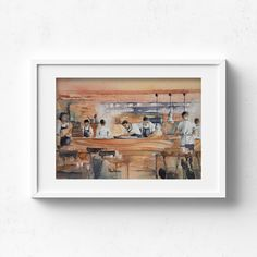 Beau Constantia Chef's Warehouse – Claire Gunn - Watercolour painting Chefs working behind the pass in a fine dining restaurant. Chefs Warehouse, Chef Work, Watercolour Painting, Fine Dining, Claire, Original Artwork, Fine Art Prints, Photo Wall, Restaurant