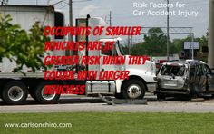 Risk Factors for Car Accident Injury Video #3 Occupants of smaller vehicles are at greater risks of car accident injury when the collide with larger vehicles.  Some people overcome this risk factor by buying a larger vehicle but at least buy a vehicle with excellent safety equipment. If you have had pain following a car accident injury call today 512-447-9093.  Or you can learn more at http://www.carlsonchiro.com . The  most common whiplash symptoms are neck pain, headaches, and shoulder…