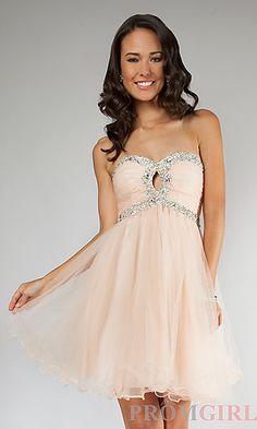 Short Strapless Prom Dress at PromGirl.com