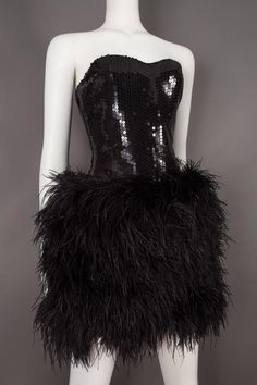 Lillie Rubin strapless ostrich feather sequinned mini dress, circa late 1970s 4