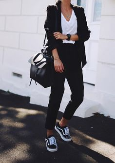 Classic black Vans will never go out of style. Match with a leather black  satchel bag and create the perfect minimalist look to wear to work at your  amazing ... 24cb383ddfa