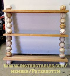 Baseball DIY Wall Shelf Shelving Ideas Boys Room