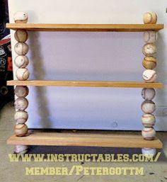 baseball, DIY, Wall, Shelf, Shelving, Ideas, Boys, Room