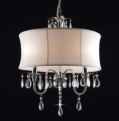 G7-WHITE/834/3 Chandeliers with Shades Crystal Chandelier With Large White Shade