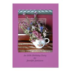 "80th Birthday Party Invitation, Flowers in Teapot, Vintage - The front of this invitation is an original photograph of beautiful flowers in a vintage teapot, on a pale purple background. Background color on front and back is ""Radiant Orchid"", the Pantone Color of the Year for 2014. The ""radiant orchid"" background on the back can be deleted, if desired. Original photograph by Marcia Socolik. All Rights Reserved © 2013 Alan & Marcia Socolik.  #Birthday #VintageBirthdat #Teapots #Teapot"