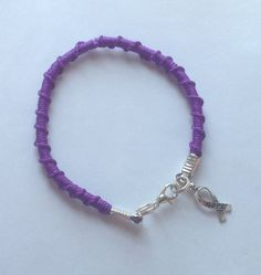 Spiral Friendship bracelet W/Charm-Dark Purple by Hopelisa on Etsy