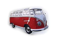 VW T1 Camper Bus Red Wall Clock - VW Collection by Brisa - Official Volkswagen Clocks BUWC01 #VWCamperRedWallClock #VWCollectionByBrisa #FineGiftsNottingham