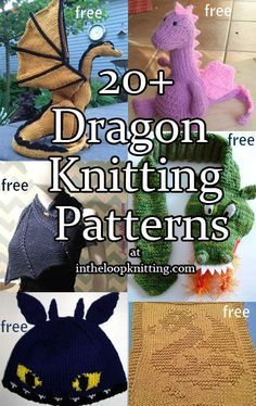 Dragon Knitting Patterns. Most patterns are free. This magnificent creature of myth and fantasy is captured in toys, hats, and inspires clothing design in cowls, shawls, gauntlets.