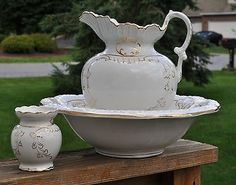 Lovely 3-Piece Victorian Porcelain Pitcher Washbowl Chamber Set West End Pottery