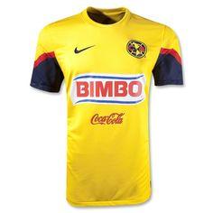 Es la camisa de futbol.  Es amarillo con un poco de azul.  Es hecho por Nike.