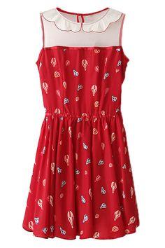 #RomwePartyDress ROMWE | Panel Ballon Print Red Dress, The Latest Street Fashion