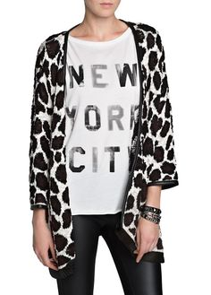 MANGO - CLOTHING - Cardigans and sweaters - Animal print knitted cardigan