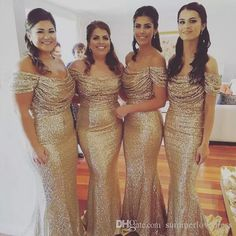 2017 New Rose Gold Off The Shoulder Sequins Mermaid Bridesmaid Dress Sparkling Ruffle Floor Length Evening Prom Gowns Short Chiffon Bridesmaid Dresses Silver Bridesmaids Dresses From Summerlovedress, $92.47| Dhgate.Com