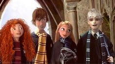 The Big Four, all students of different houses. Merida is Gryffindor (heh.brave), Hiccup is Hufflepuff, Rapunzel is Ravenclaw, and Jack Frost is Slytherin.I'd switch Hiccup and Rapunzel. But it is too great a pic to spend it arguing. Disney Pixar, Disney And Dreamworks, Disney Art, Disney Hogwarts, Harry Potter Disney, Rise Of The Guardians, Merida And Hiccup, Jack Frost And Elsa, Desenhos Harry Potter